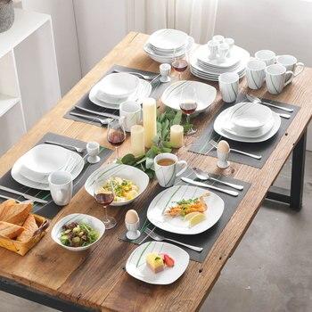 VEWEET AVIVA 44-Piece White Porcelain Dinner Tableware Set with 8*Egg Cup,Mug,Bowl,Dessert Plate,Dinner Plate and 4*Salad Bowl