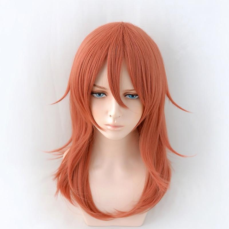 Motosserra homem cosplay anjo diabo 50cm longa peruca natal cor laranja escuro peruca cosplay anime perucas sintéticas resistentes ao calor