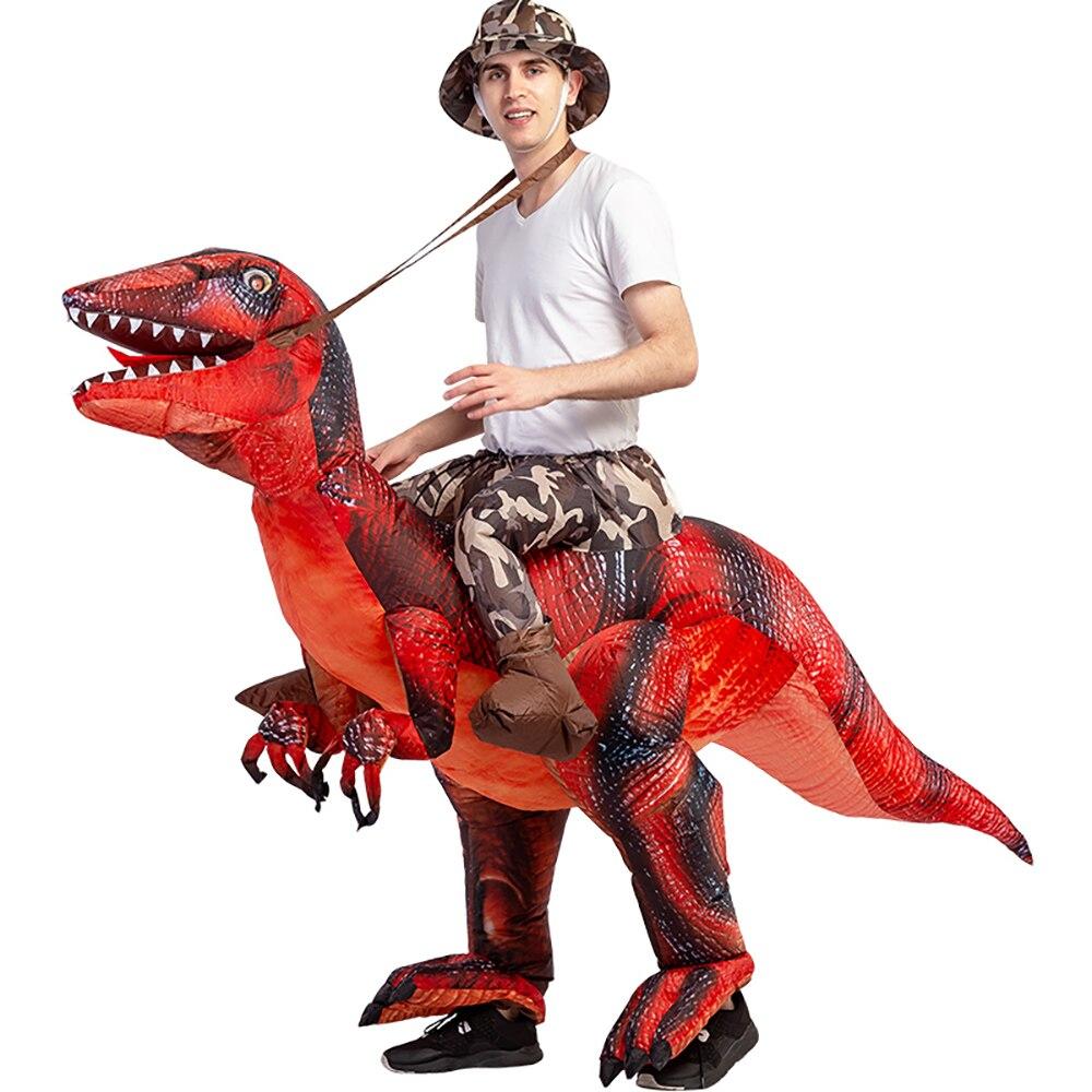 Galleria fotografica Velociraptor T <font><b>REX</b></font> Dinosauro Animale Della Mascotte di trasporto Gonfiabile Costume Per Adulti Anime Cosplay Regalo Di Compleanno Per Il Partito di Cosplay Disfraz