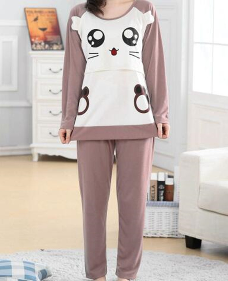 Cotton Home Service Pregnant Women Pajamas Suit Month Clothes Postpartum Long Sleeves Out Cartoon Breastfeeding Clothes