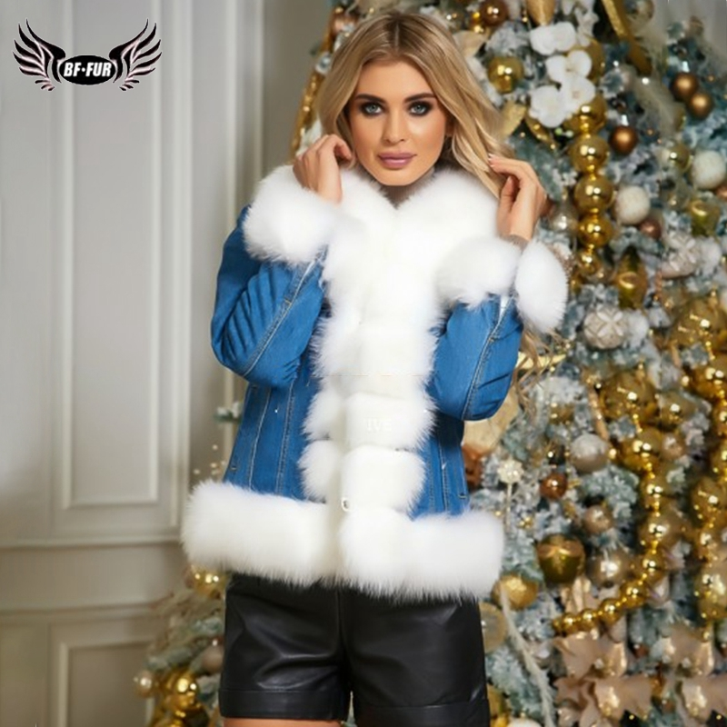 2019 BFFUR Fashion Denim   Parka   With Fox Trim Female Natrual Fox Fur Jacket Silm Genuine Fur Coat Warm Winter Park With Fur