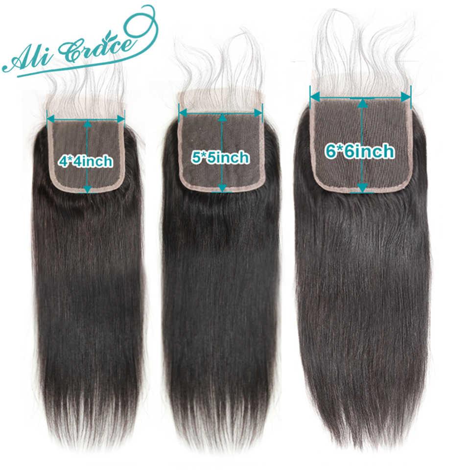 Ali graça cabelo brasileiro feixes de cabelo reto com fechamento 6x6 5x5 encerramento com pacotes 30 polegada feixes de cabelo humano com fechamento