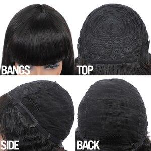 Image 3 - Pelucas de cabello humano liso con flequillo hechas a máquina pelucas de diadema gratis Color Natural para mujeres negras cabello Remy Janin