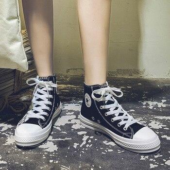 2019 ฤดูใบไม้ร่วงส้นแบนสูงด้านบนรองเท้าผ้าใบรองเท้า Women's Breathable Casual รองเท้าผสมสีอะนิเมะรองเท้าสตร...