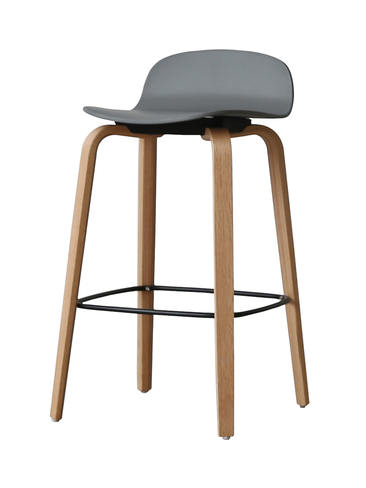 Nordic Bar Stool Leisure Bar Chair Bar Modern Minimalist Creative Solid Wood Back High Stool Home Bar Stool