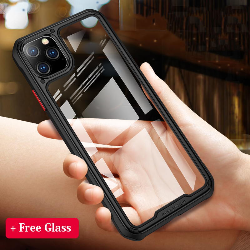 Armor Designed HD Transparent Phone Cases for iPhone 11 Pro Max Military Grade Protect Hybrid TPU+PC Shockproof Cover+Free Glass