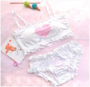 Image 2 - Cute & Sexy Shimapan Kawaii frauen Transparent Süße Amor abdeckung 2 stücke Bh & Höschen Set Lolita Camisoles Set farbe Weiß & Rosa