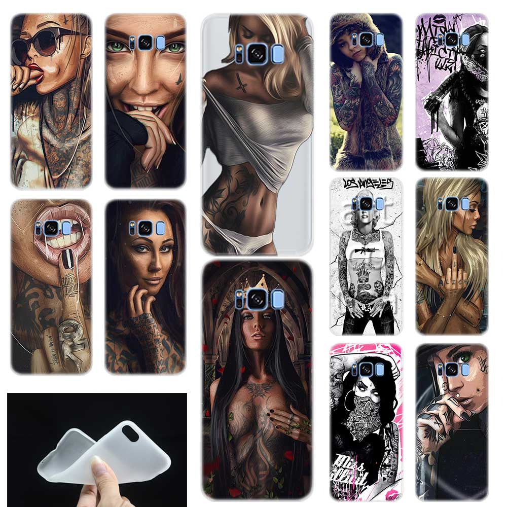 <font><b>Sexy</b></font> Sleeve Tattoo Girl Soft TPU Silicone Phone Back <font><b>Case</b></font> Cover For Samsung Galaxy S6 S7 Edge <font><b>S8</b></font> S9 S10 plus E Note 8 9 10 pro image