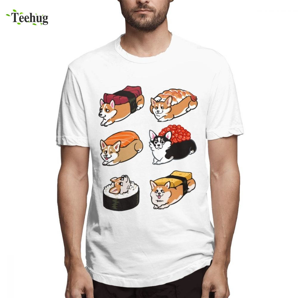 For Man Sushi Corgi Tee Shirt Man New Arrival Summer For Boy 100 Cotton T Shirt in T Shirts from Men 39 s Clothing