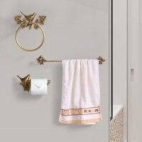 Bird Towel Ring Carved Toilet Paper Holder Creative Towel Bar 18 Inch Bathroom Accessories Antique Brass 3pcs Bath Towel Set