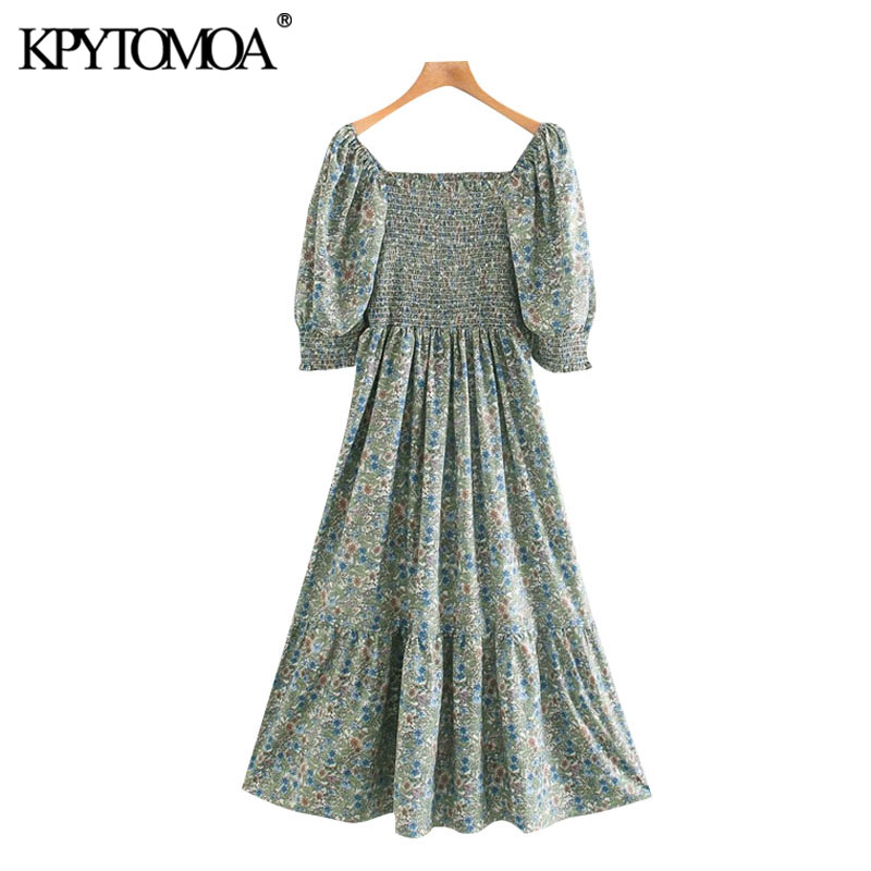KPYTOMOA Women 2020 Chic Fashion Floral Print Elastic Smocked Midi Dress Vintage Square Collar Puff Sleeve Female Dresses Mujer