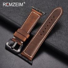 Ремешок кожаный REMZEIM ручной работы в форме подковы для Apple Watch series 1/2/3 42 мм 38 мм, ремешок для iwatch series 5 4 40 44 мм