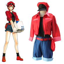 Anime cells at work red erythrocyte blood cell cosplay costume red blood cell hataraku saibou female halloween cosplay outfits cosplay red