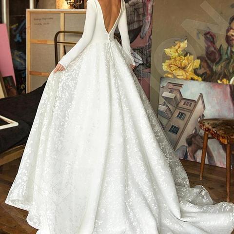 Robe de mariee Vintage Long Sleeve Lace Satin Wedding Dress Sexy Deep V Neck Backless Bride Dress for Wedding Karachi