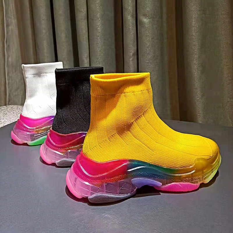 Stylish Platform Sock Boots Women Autumn Botas Mujer 2020 Rainbow Sole Ankle Boots High Heels Bota Feminina Slip On Shoes Women