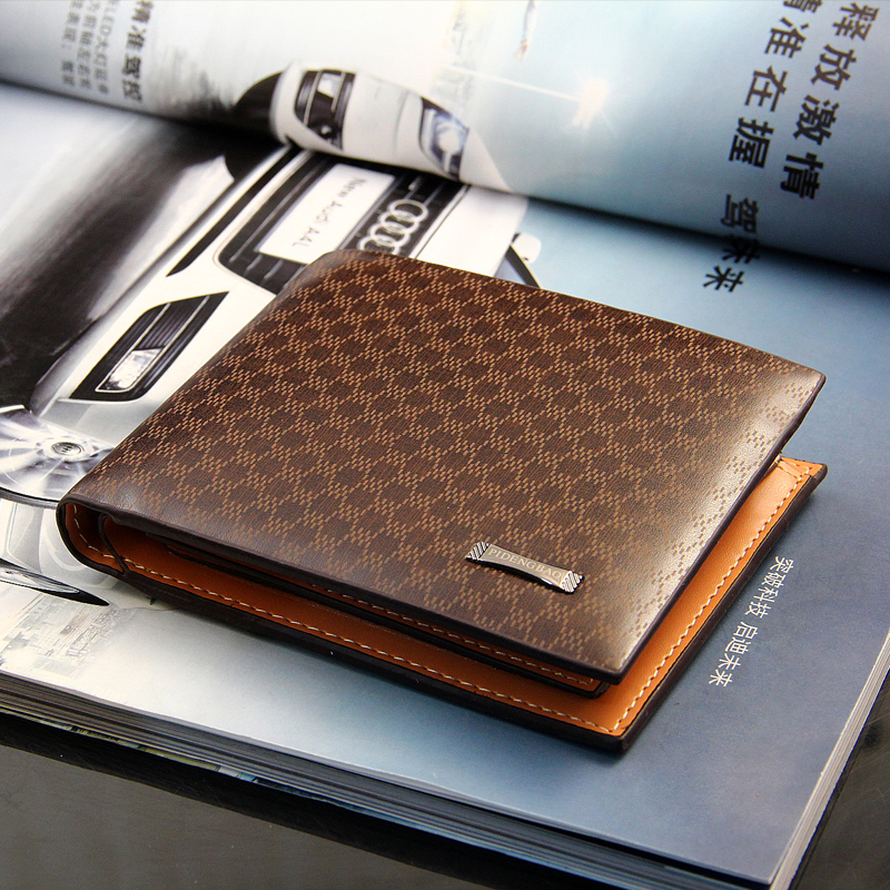Fashion Business Casual Men's Wallets Plaid Pattern Brown Short Wallet Quality PU Leather ID Credit Card Holder Purse Low Price