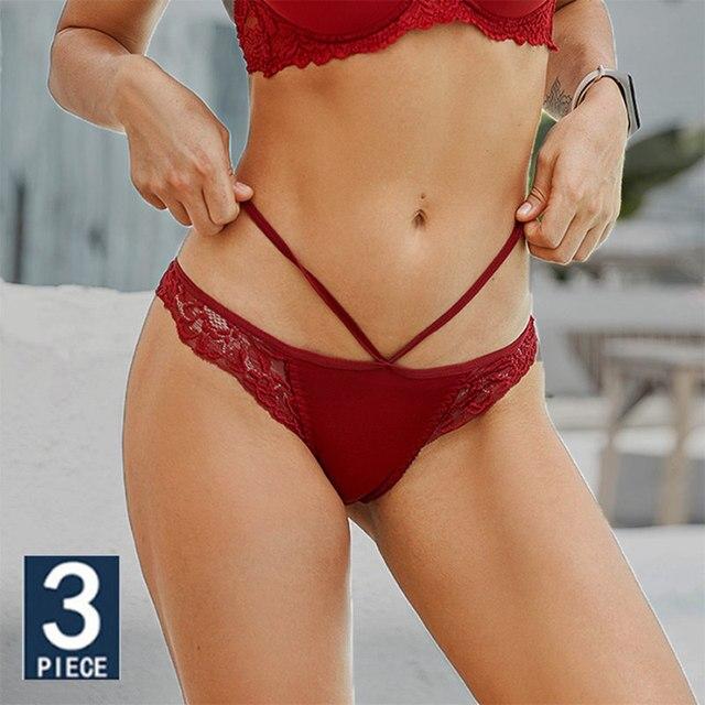 3PCS Lace Sexy Women Underwear Thin Belt Panties Ultra-thin Transparent Lingerie Ladies Lace Floral Underpants Seamless Briefs