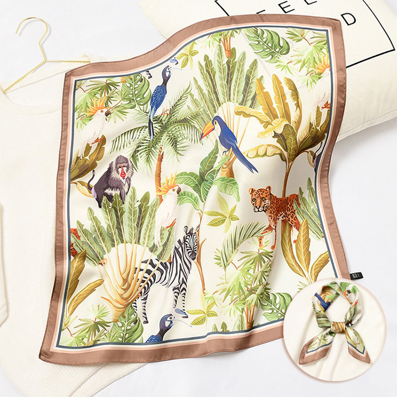 55cm Newlty Spring Small Bandana For Girl Women Fresh Print Foulard Square SIlk Neck Scarf