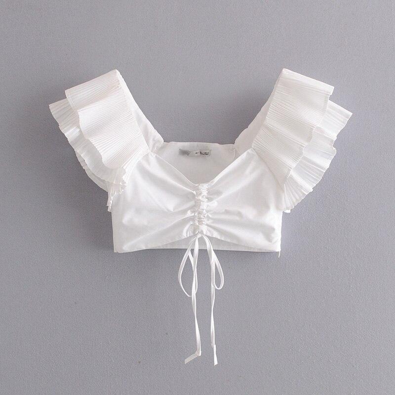New 2020 Women Sexy V Neck Short Poplin Shirts Blouse Women Cascading Ruffles Pleats Sling Femininas Blusas Zipper Tops LS6509
