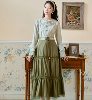 2019 new fashion women's clothing Autumn Plaid Shirt + Green Embroidered Skirt Set 2 piece outfits for women