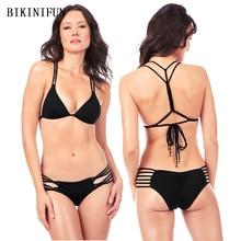 цена на New Sexy Solid Color Bikini Women Swimsuit Backless Padded Bathing Suit S-XL Girl Strappy Bandage Swimwear Micro Bikini Set