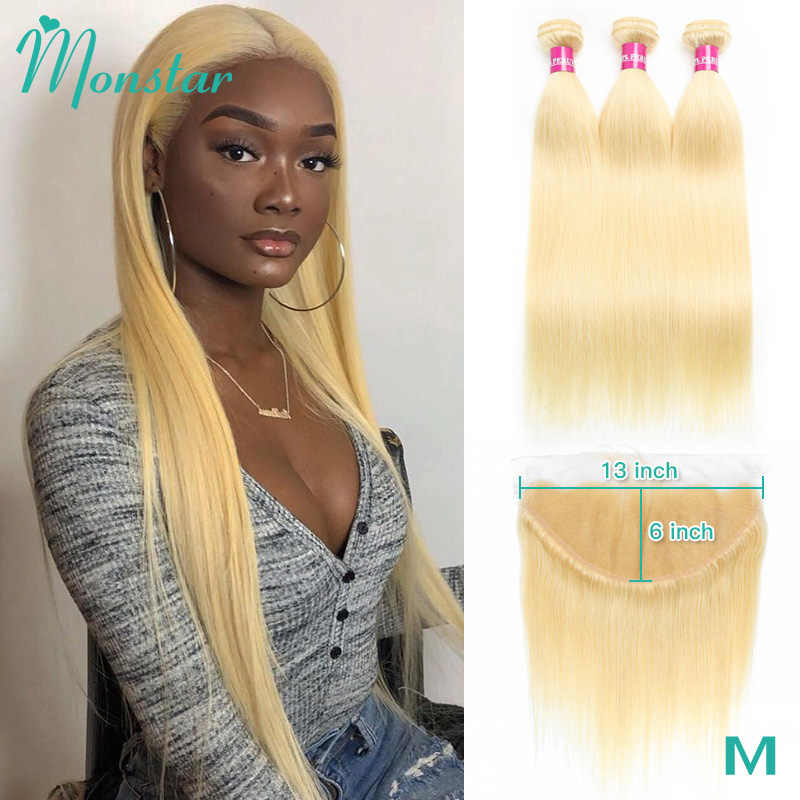 Monstar Blonde Bundles With Frontal Peruvian Straight Remy Human Hair Extensions 8 - 40 Inch 613 Bundles with 13x6 Lace Frontal