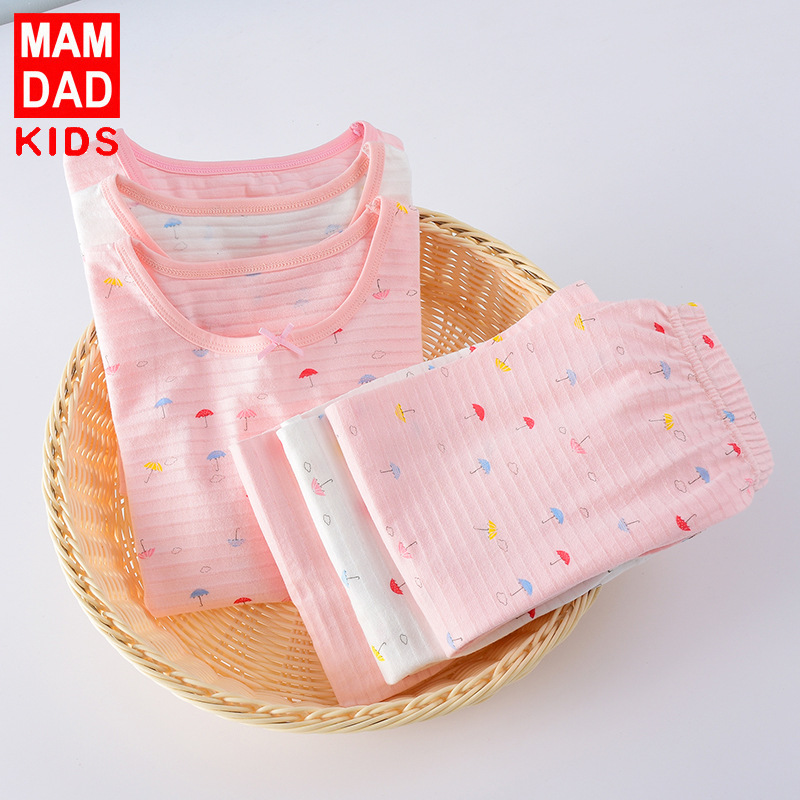 Children Pure Cotton Summer Pajamas Tracksuit Korean-style Men And Women Children 3-11-Year-Old Short Sleeve Capris Pajamas Suit