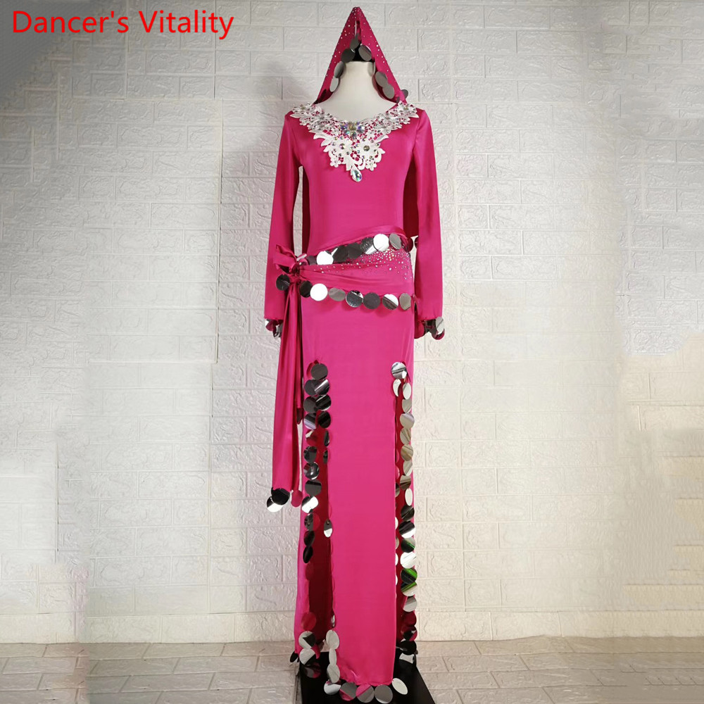 Belly Dance Group Performance Clothes Sparkling Diamond Robe Sequin Belt Headband Set Drum Oriental Indian Dancing Stage Wear