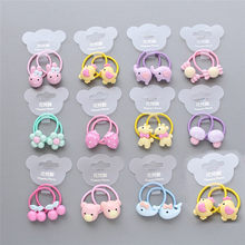 1pair Cute baby hair ring animal fruit small head rope rubber band elastic hair band acrylic children hair accessories headwear(China)