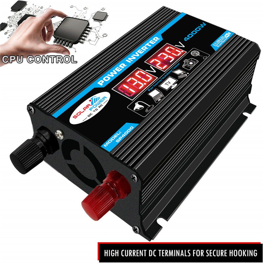Converter Power Inverters 3000W DC12V To AC220V USB Charger Boat Car for Solar Inverter Appliances With Display