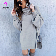 Adogirl Red Gray Elegant Knitted Dress Women Autumn Turtle Neck Female Sweater Dress Sexy Holiday Solid Ladies Winter Vestidos solid turtle neck sweater