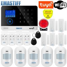 Inalámbrico Tuya APP SIM GSM casa RFID de seguridad antirrobo LCD teclado táctil sistema de alarma WIFI/GSM kit de Sensor ruso español voz