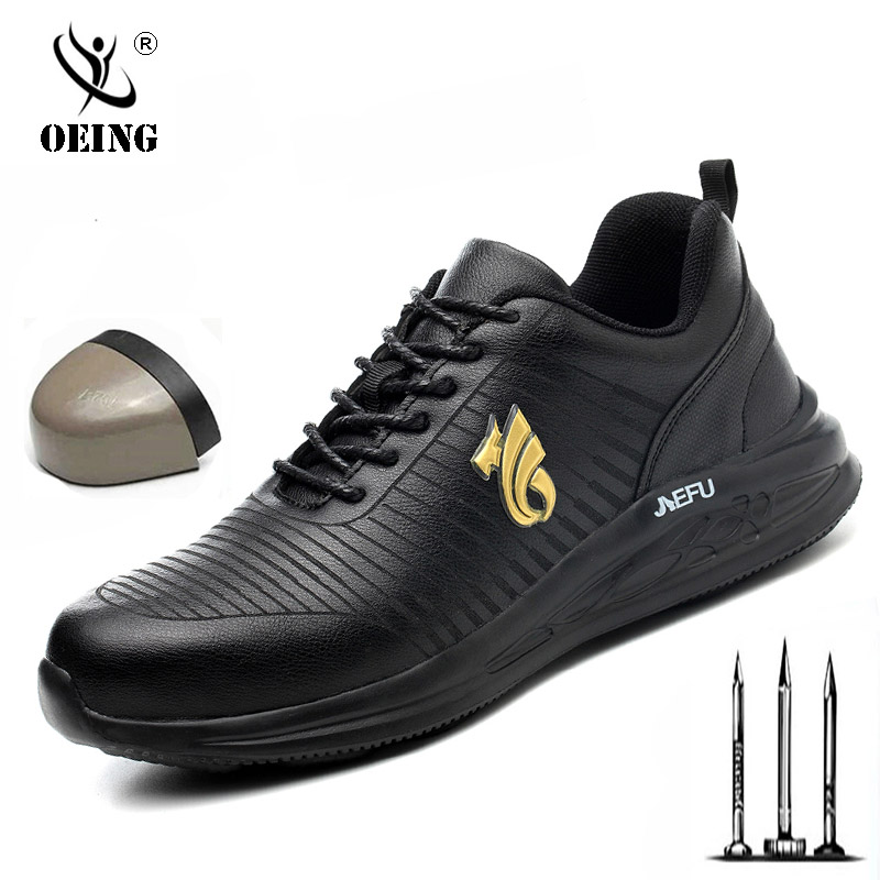 Lightweight waterproof Men Safety Shoes Steel Toe Work Shoes For Men Anti-smashing Construction Sneaker Reflective casual shoes image