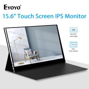 """Image 1 - Eyoyo 15.6 """"IPS 터치 모니터 1920x1080 FHD 휴대용 HDMI 유형 C 게임 모니터 HDR 디스플레이 노트북 PC 전화에 대 한 두 번째 화면"""