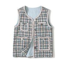 High quality womens plaid tweed waistcoat 2019 autumn fashion pockets Vest A896