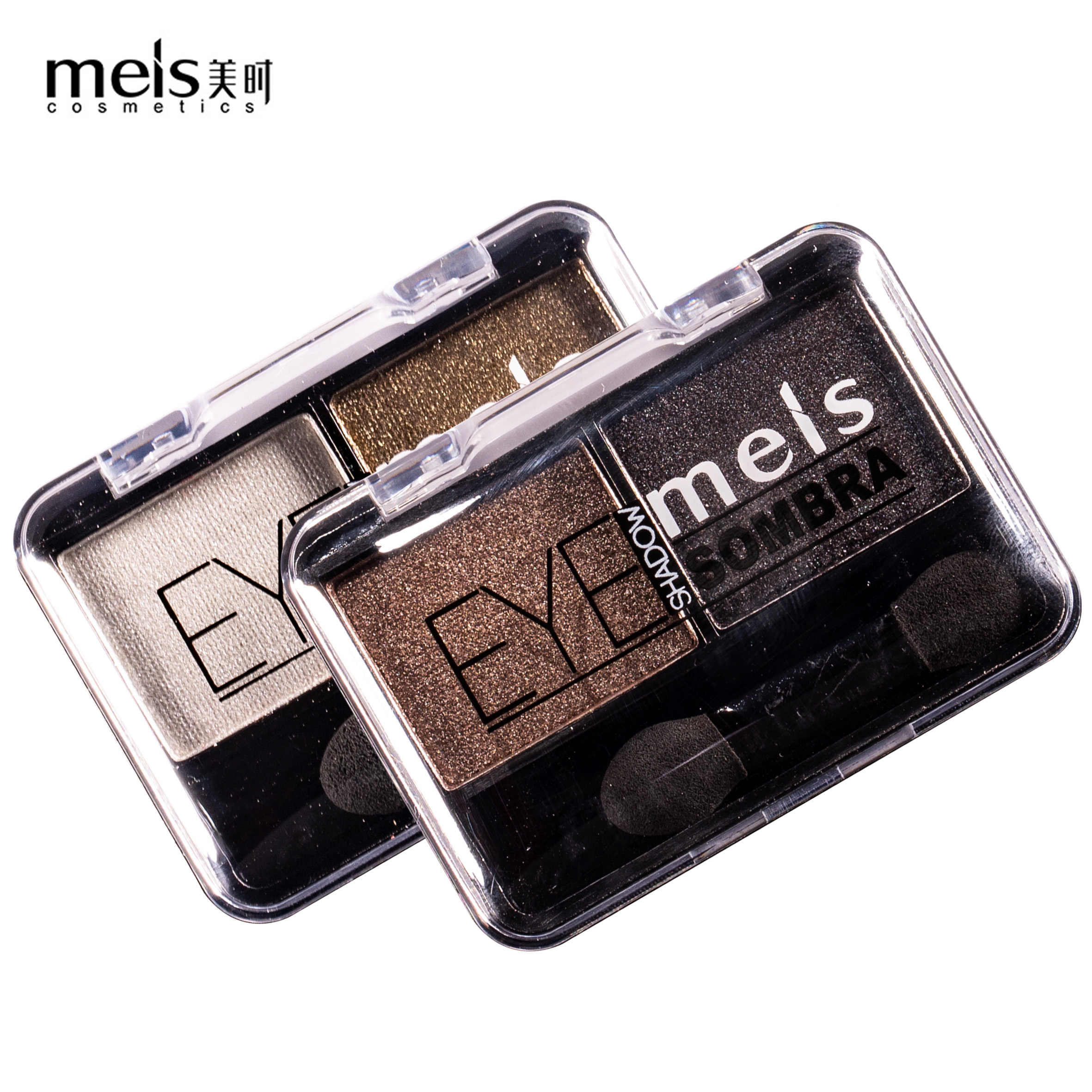 Meis Merek Shimmer Eye Shadow Baru Menawan Eyeshadow 2 Warna Palet Make Up Palet Shimmer Pigmen Eye Shadow MS0266