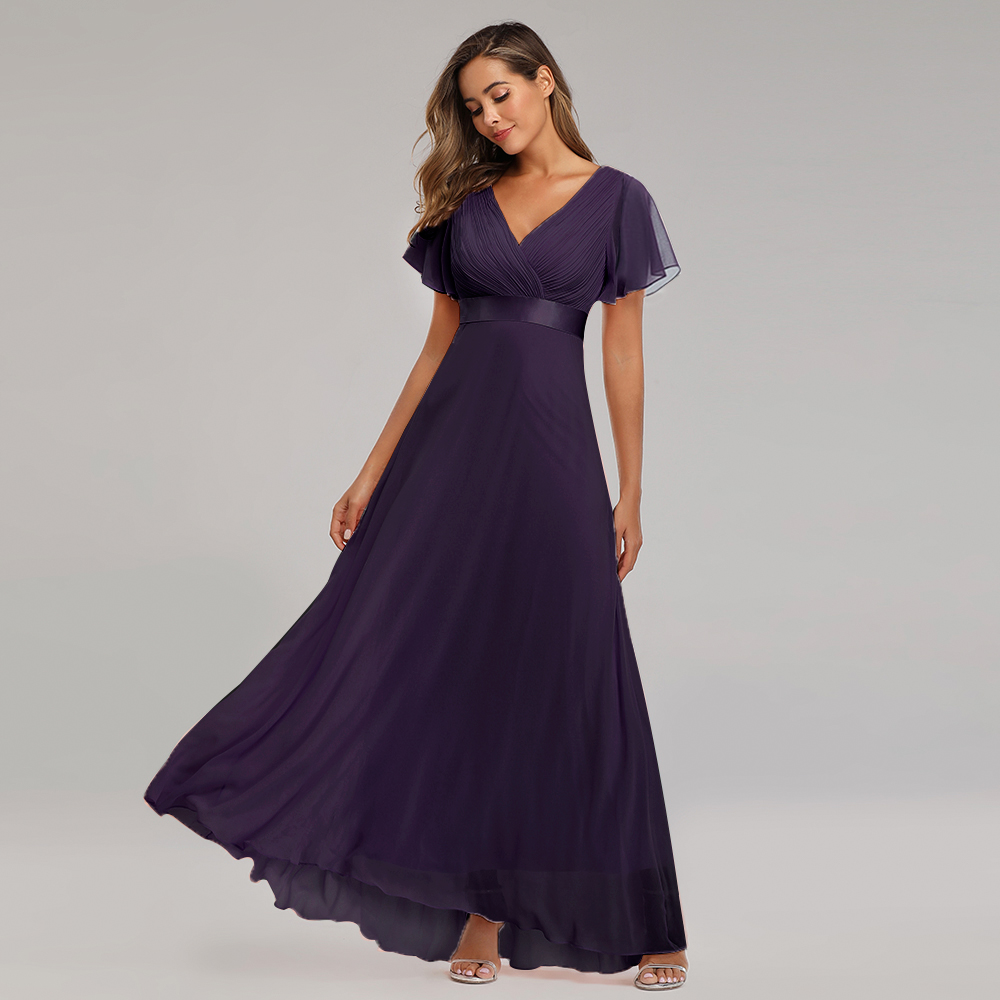 Evening Dresses XUCTHHC Elegant V-Neck Ruffles Chiffon Formal Evening Gown Party Dress Robe  vestidos de fiesta de noche A-line 4