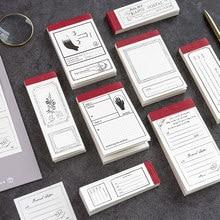 JIANWU 8 rodzajów 50 arkuszy notatnik Retro minimalizm wiadomość notatnik malarstwo dekoracyjne DIY dziennik naklejki nie lepkie