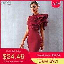 Adyce 2020 novo verão feminino vermelho branco celebridade runway vestido de festa sexy sem mangas babados bodycon midi noite clube vestido
