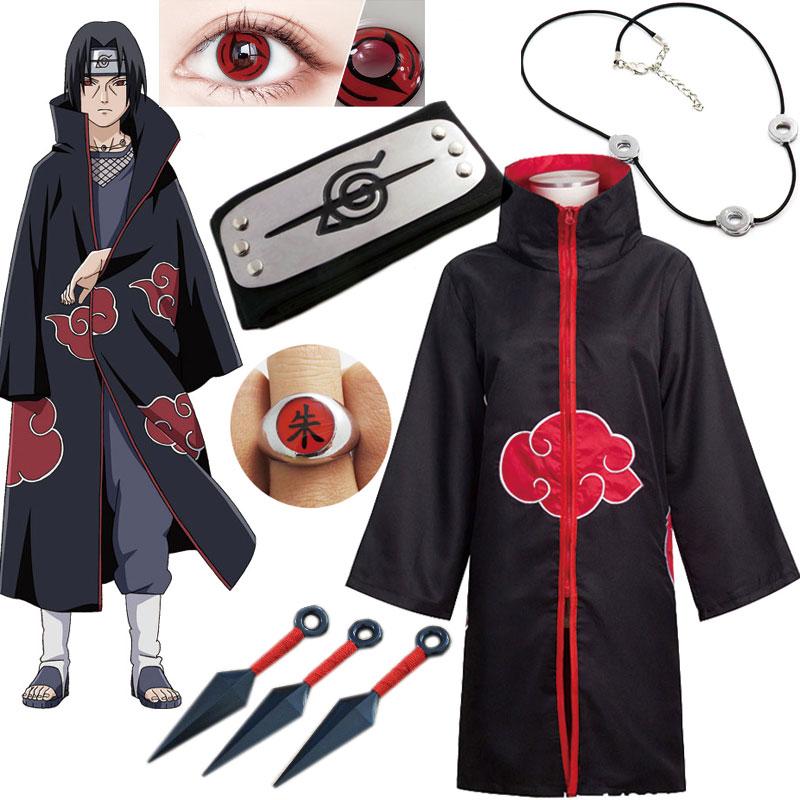 NARUTO Anime Cosplay Costume Akatsuki  Cloak Uchiha Itachi Headband Costume