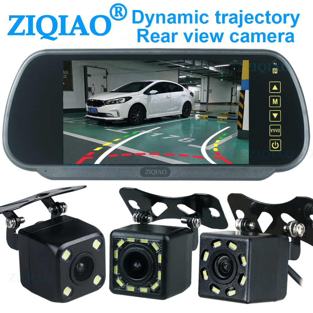 ZIQIAO 7 Inch LCD Parkplatz Monitor Display System mit Rückspiegel Monitor LED Dynamische Track Rückansicht Kamera