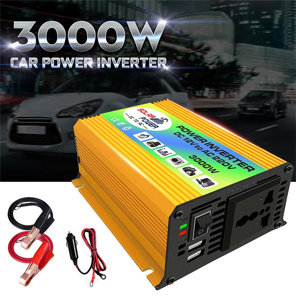 USB charge 3000W DC 12V to AC 220V Portable Car Power Inverter Charger Converter Adapter DC 12 to AC 220 Modified Sine Wave