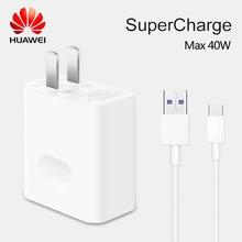 Original huawei supercharge carregador rápido max 40w 10v/4a 5v/4a com 5a cabo huawei p30 p40 nova 5 pro companheiro 30 20 pro magia 2