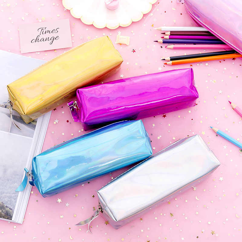 Ellen Brook 1 Pcs Soft PU Laser Pencils Bags Kawaii Girl Pencils Case Durable Large Capacity School Supplies Stationery