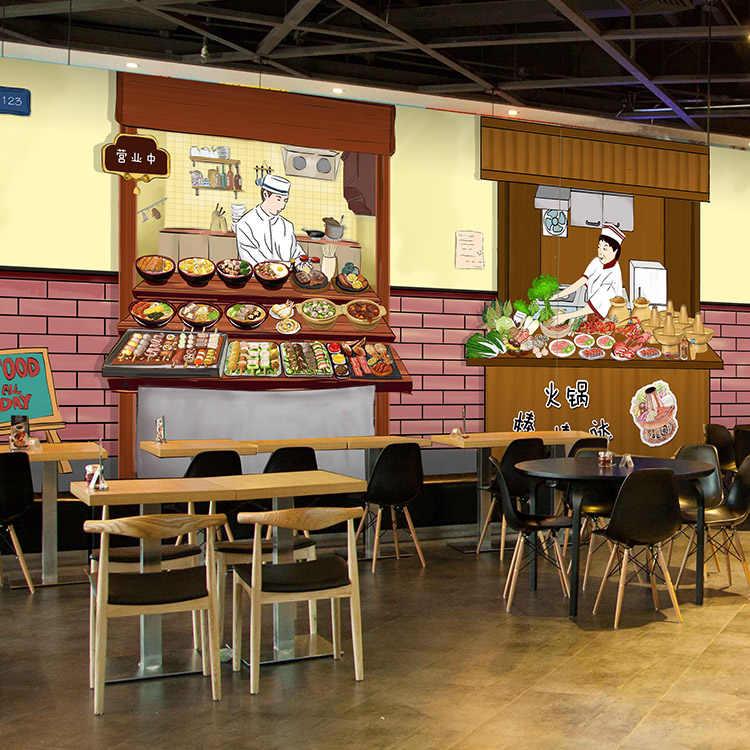 Drop Schip Fotolijst Behang Traditionele Grote Muurschildering Mall Restaurant Burger Winkel Hot Pot Behang