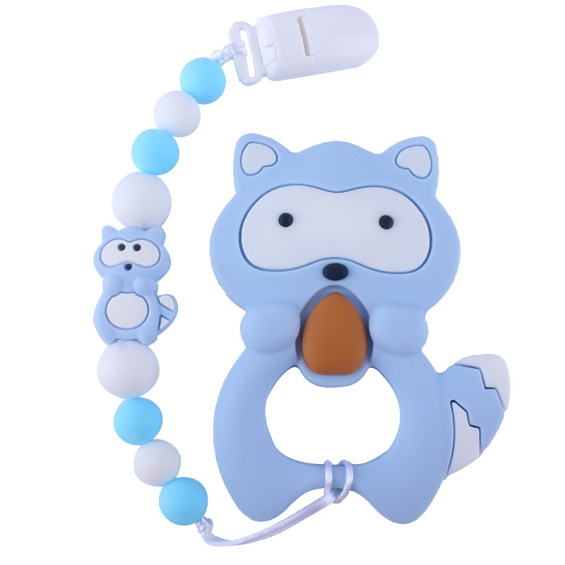 1pc Silicone Teether Beads Cartoon Pacifier Chain Baby Teething Nursing Pacifier Clips Raccoon Silicone Teether Necklace