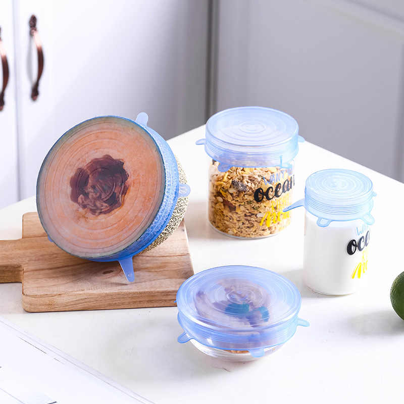 6/12Pcs Herbruikbare Verse Houden Seal Covers Compressie Universele Silicone Stretch Deksels Keuken Accessoires Gebruik Voor Keuken Voedsel