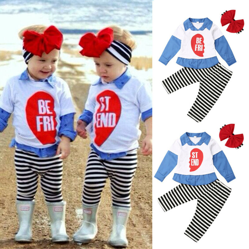CANIS Autumn Toddler Baby Girl <font><b>Kid</b></font> <font><b>BEST</b></font> <font><b>FRIEND</b></font> Matching Outfits 3pcs Clothes Long Sleeve Patchwork <font><b>Shirt</b></font> Top Striped Pants image
