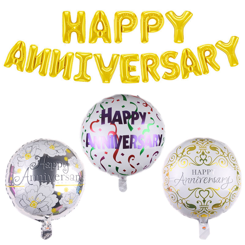 Happy Anniversary Letter Foil Balloons Wedding Anniversary LOVE Theme Birthday Air Inflatable Globos Memorial Day Party Supplies