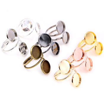 12mm 5pcs Silver Plated Gold Stainless Steel Adjustable Ring Settings Blank/Base,Fit 12mm Glass Cabochons,Buttons;Ring Bezels gold plated embellished ring set